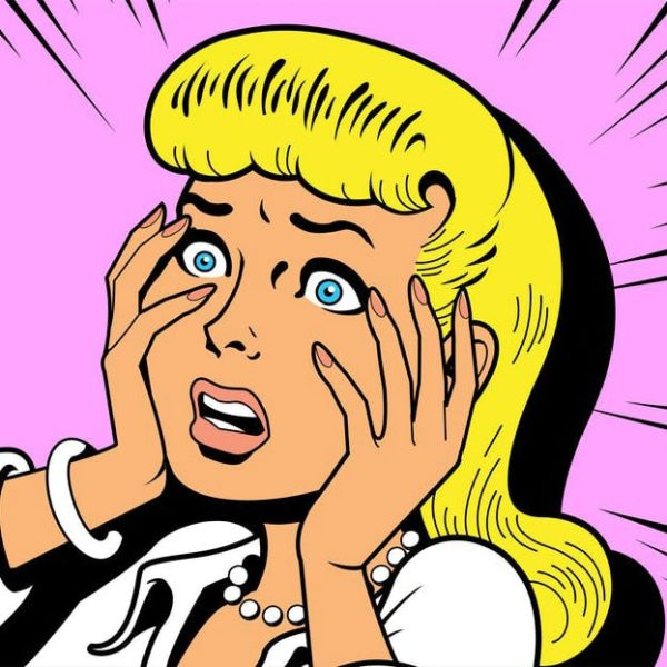 Blonde cartoon character, surprised with hands on her face - Strategic Management Drama Series